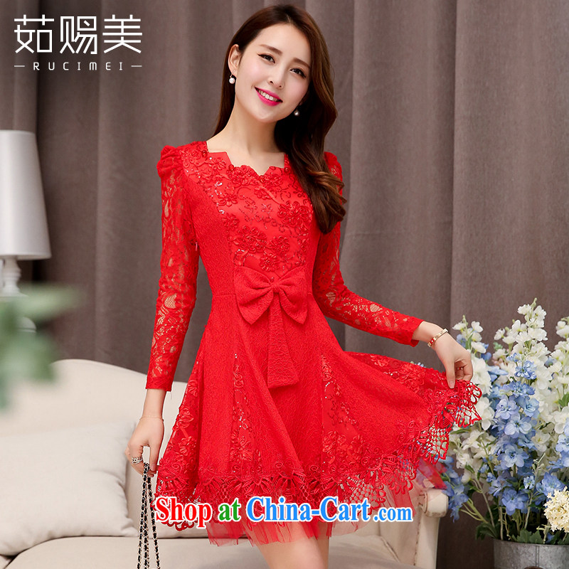 Ju gave us 2015 spring new married women bows dress female short lace beauty dresses red XXL