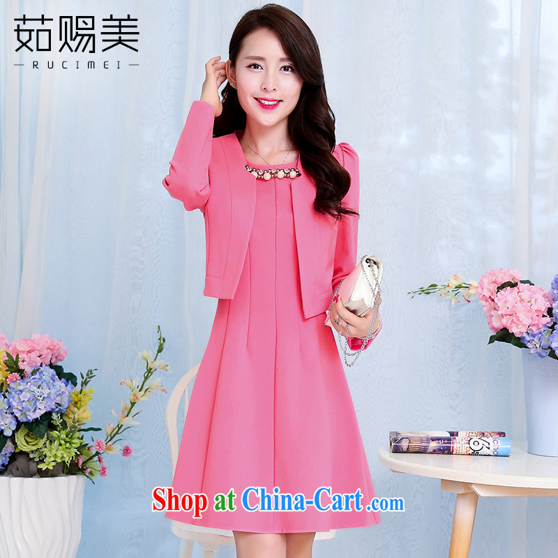 Ju gave us 2015 spring new married women bows dress girl short, cultivating dress two-piece with the light red XXXL