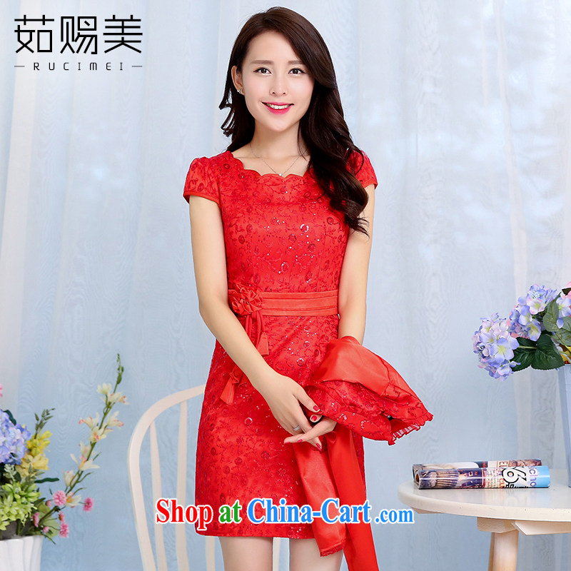 Ju gave us 2015 spring new married women bows dress girl short, cultivating dress two-piece red XXXL