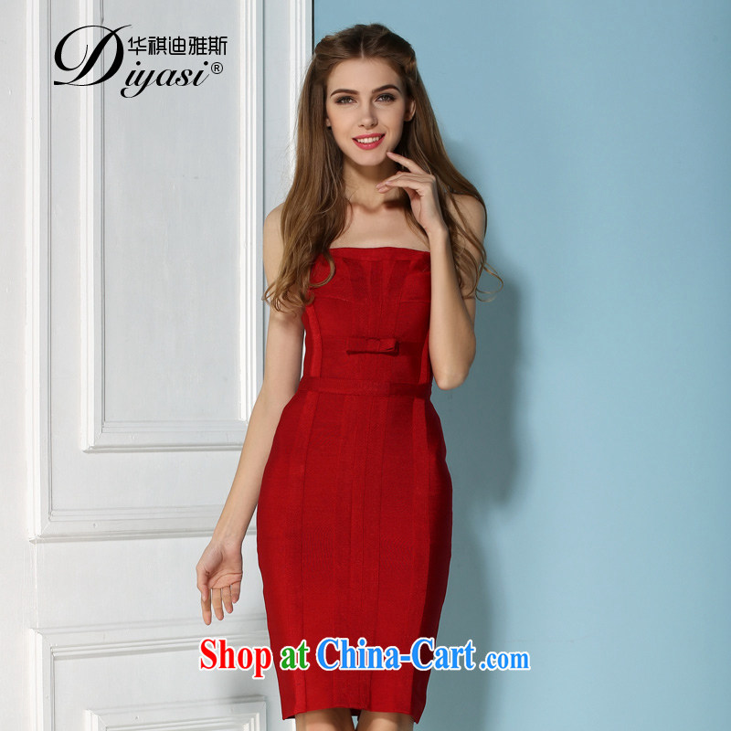 European and American spring and summer new sexy wrapped chest bare chest bandage dresses _ Jeon Ji-hyeon, toast clothing beauty dress red L