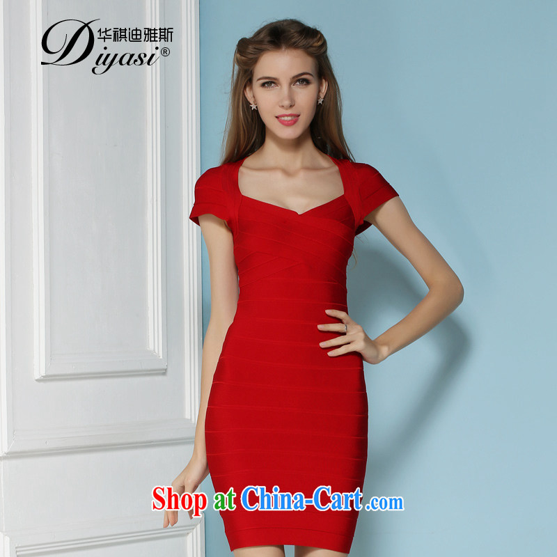 2015 spring and summer new sexy beauty Evening Dress bridesmaid package shoulder dress bandage package and dresses high-end custom red XL
