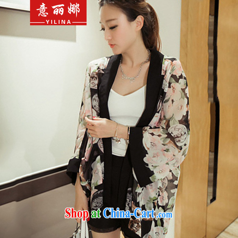 She was the 2015 air-conditioning T-shirt, long, name-yuan-yi loose snow-woven shirt, long-sleeved jacket beach sexy night mantle 112 _suit