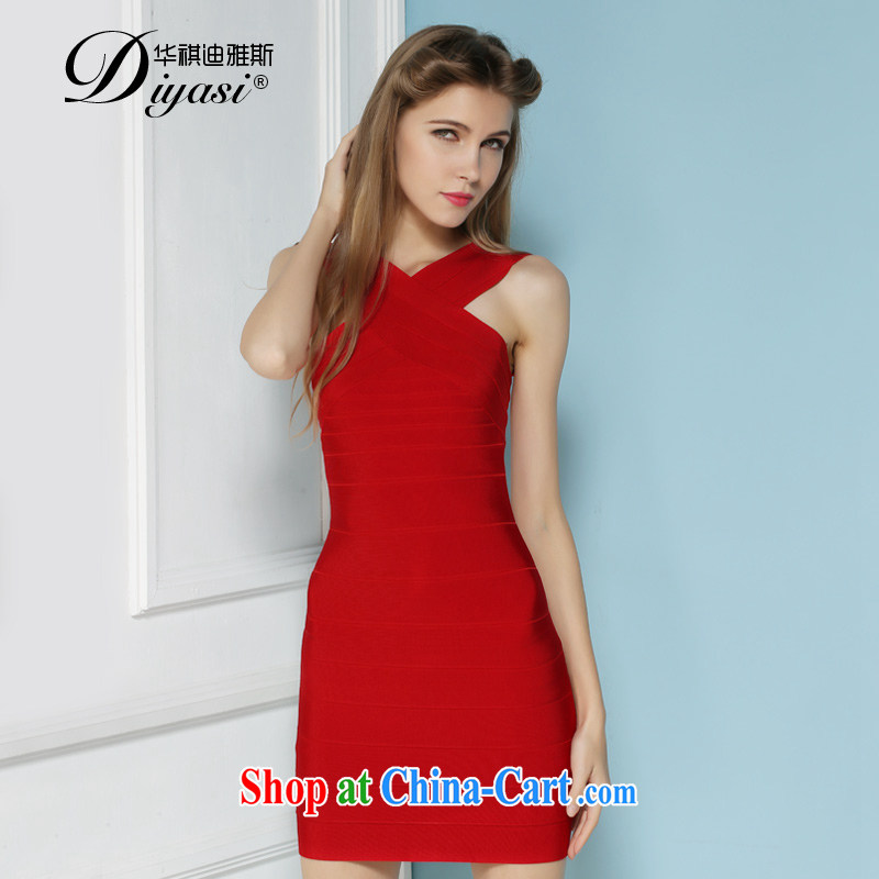 Summer 2015 new sexy beauty bridesmaid cross your shoulders dress bandage package and dresses high-end custom red L