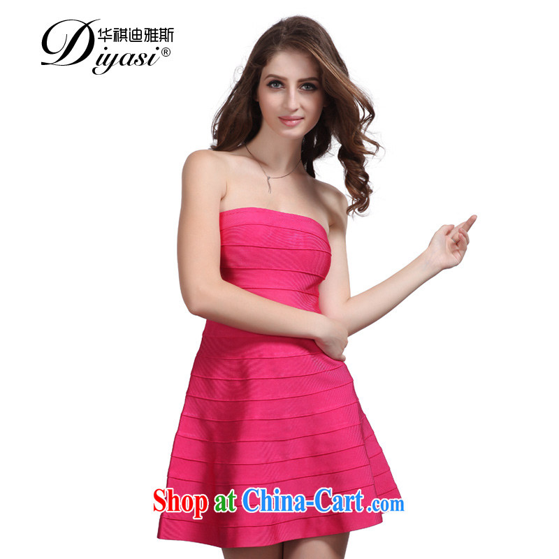 Wah Kee's aura, his chest bare, bare shoulders bridal toasting banquet girl Evening Dress short bandage dresses red L