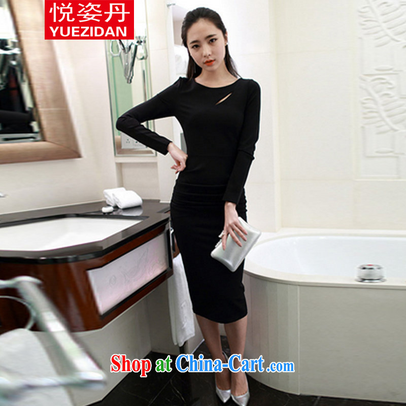 Hyatt Dan 2015 new Korean style beauty sense of long-sleeved back exposed solid dress Openwork the forklift truck dress black L