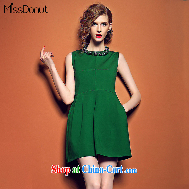 MissDonut summer 2015 new, modern Europe and the pearl cultivation video thin dress dress red sleeveless vest skirt green M