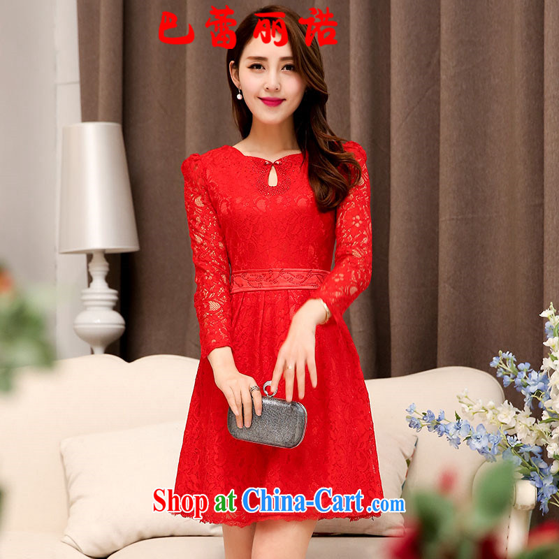 The Ballet, The 2015 autumn and the New Korean sweet betrothal dress Openwork lace long-sleeved wedding toast wedding dresses small red XXL