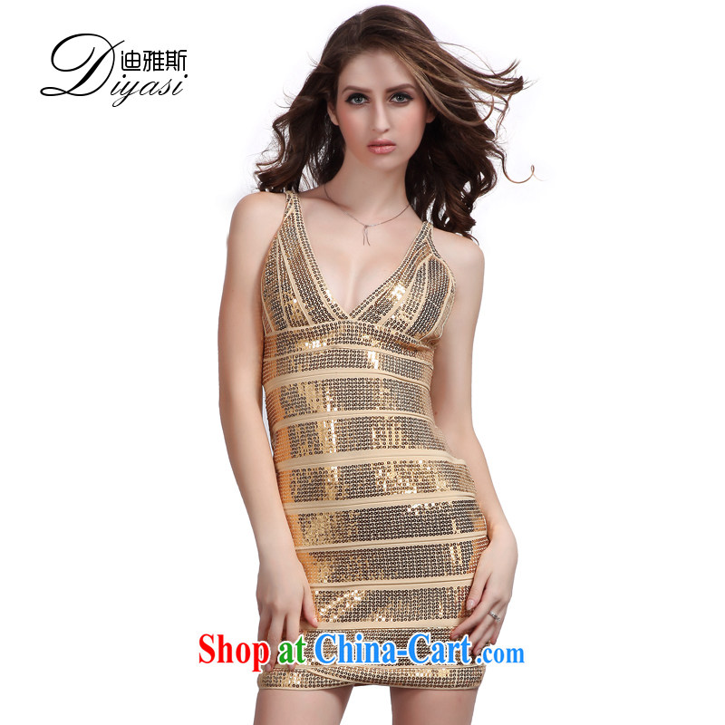 Europe and North America 2015 spring and summer new Cultivating Female bandage dress & my store sexy package and gold beads, dress Golden Pearl, L