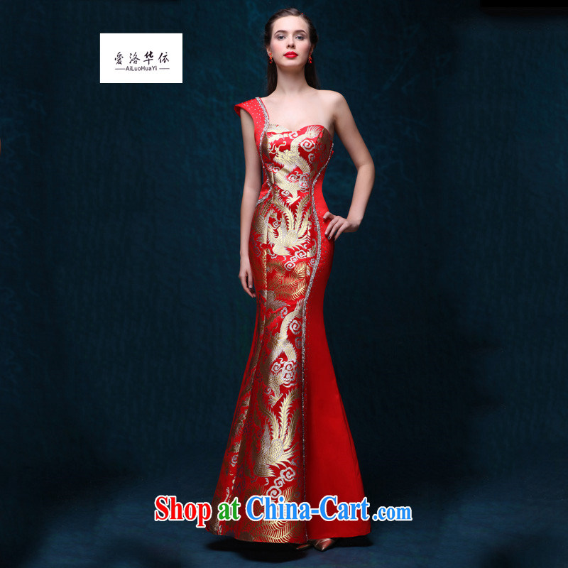 Toast serving long, sexy graphics thin crowsfoot single shoulder moderator service 2015 new summer bridal wedding dress single shoulder and elegant the drill long night at Merlion, red made 7 Day Shipping does not return does not switch