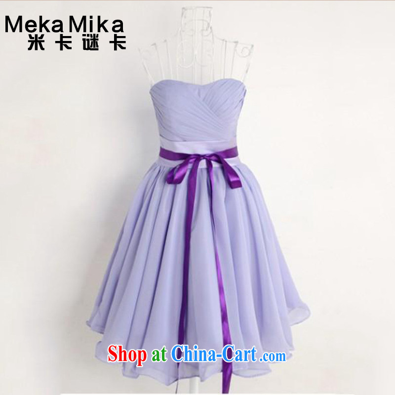 M card puzzle card 2015 new summer stars with bridesmaid dress sister skirt short bows service bridal gown light purple XL