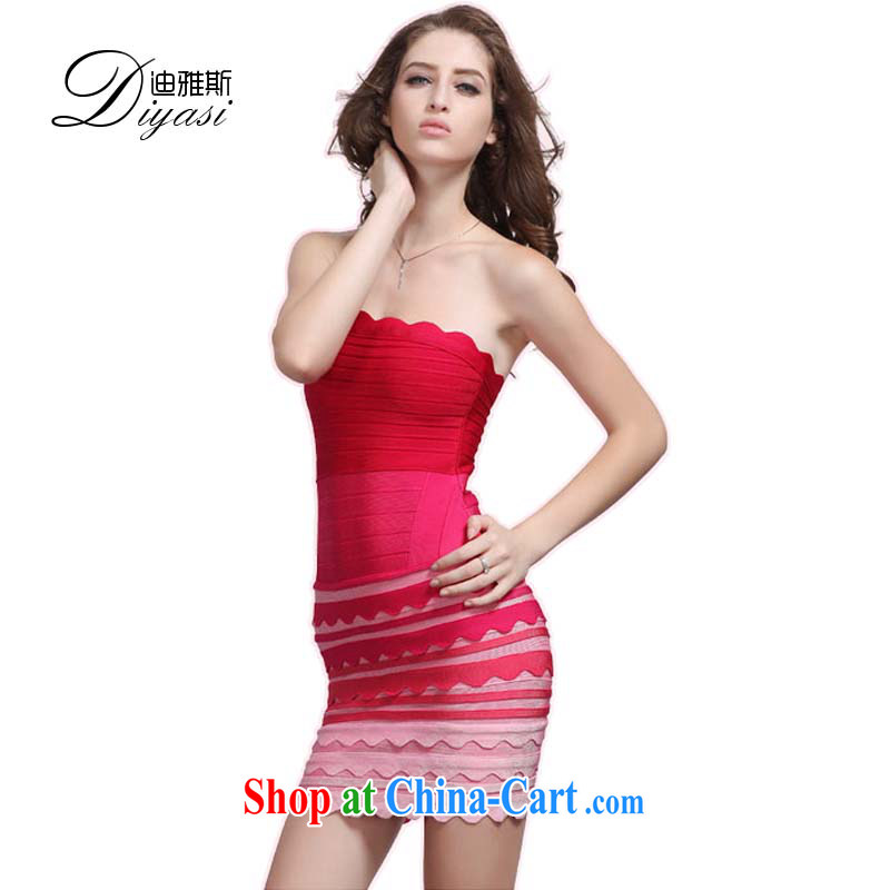 Europe 2015 autumn and winter, the bare chest sexy bandage dress banquet Evening Dress bridesmaid toast dress dress of red L