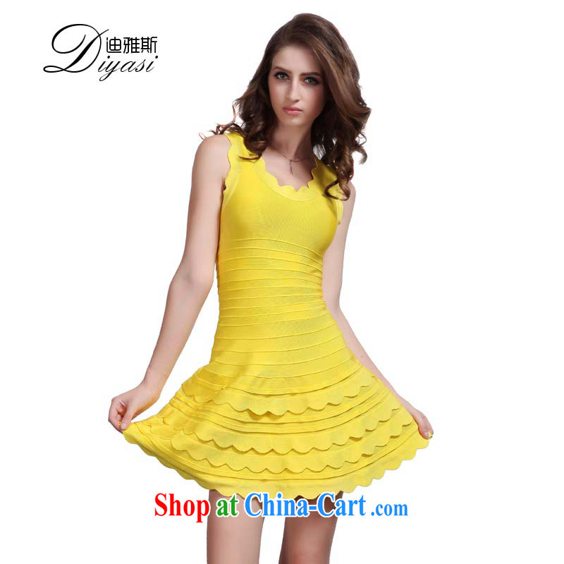 Wah Kee's aura, your shoulders fitness beauty toasting banquet girl Evening Dress dress short bandage dresses yellow L