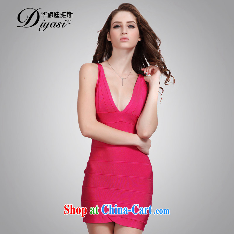 China's national flag, the red sexy V for cultivating bandage skirt style in Europe and banquets and dresses short of red L