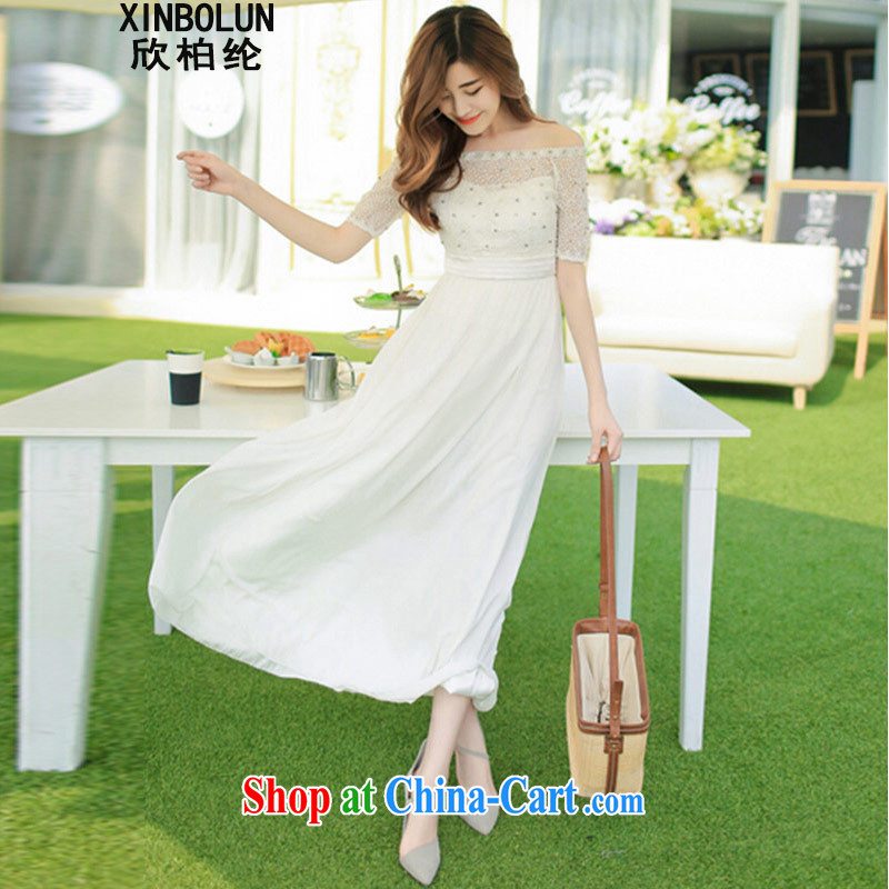 Yan Po Lun 2015 summer and autumn new beach dress wedding nails Pearl inserts drill dress long dress 8016 white XL