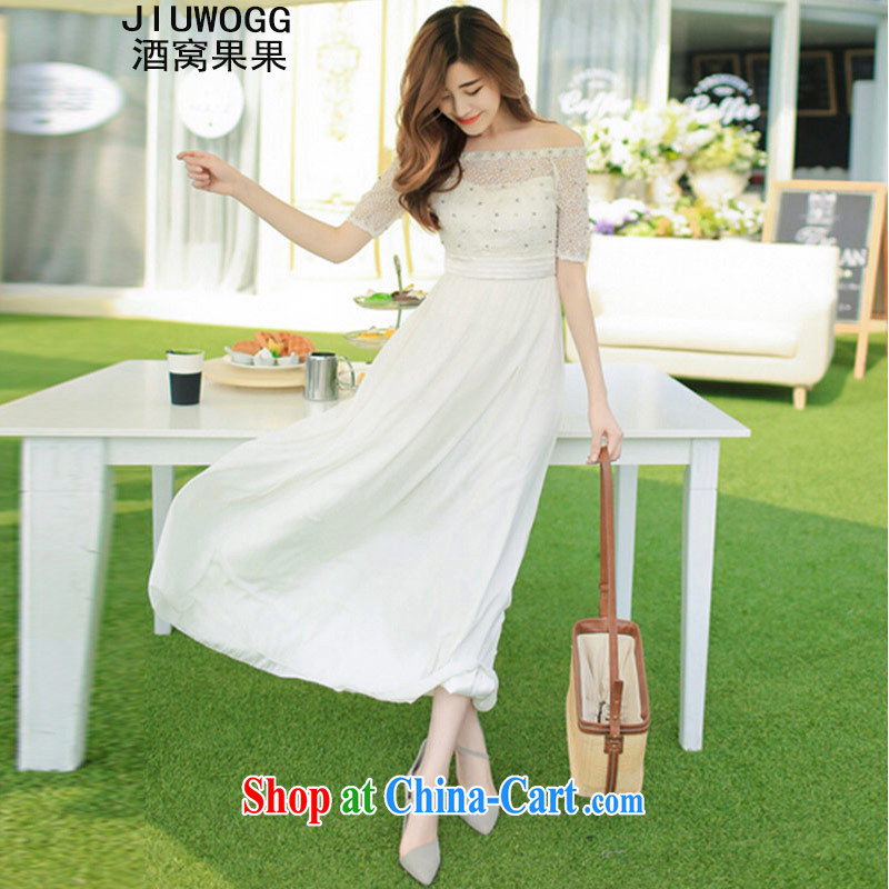 The Sarajevo while chasing autumn 2015 the new beach dress wedding nails Pearl wood drill dress long dress 8016 white XL
