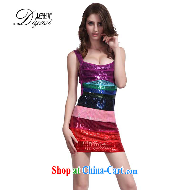 2015 new, my store a package and on-chip performance dress sense of luxury grand terrace back ball bandage dress gradient beads, Color L