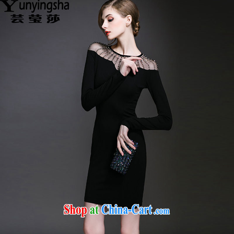Anna soon Elizabeth spring 2015 new long-sleeved solid beauty dress package and further than small black skirt dress skirt LF children 9454 black XL